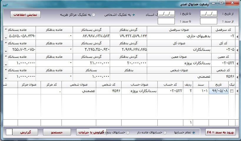 تنظیمات وضعیت حسابهای اصلی در نرم افزار حسابداری