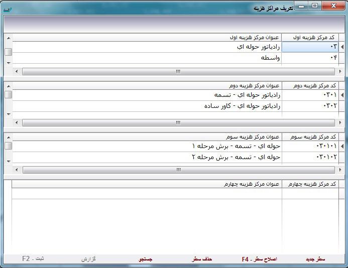 تعریف مراکز هزینه در نرم افزار حسابداری ساما سیستم