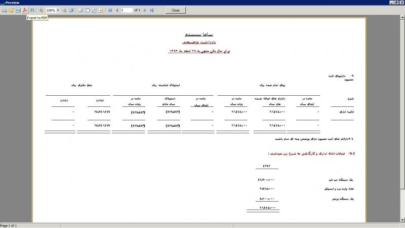 نشان دادن وضعیت مالی شرکت در نرم افزار صورت مالی